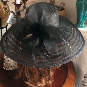 NWT Vintage Wide Brim Black Derby Hat
